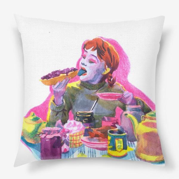 Подушка «Поп-арт, завтрак , еда ,кино»