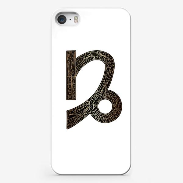 Чехол iPhone «Знак зодиака КОЗЕРОГ золото на черном»