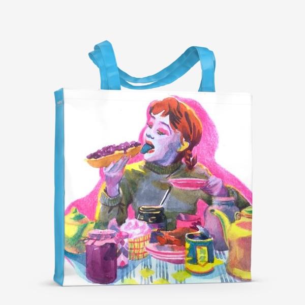 Сумка-шоппер «Поп-арт, завтрак , еда ,кино»
