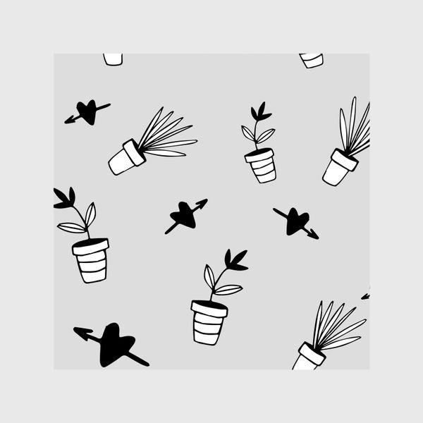 Шторы «Цветы в горшках  милый принт»