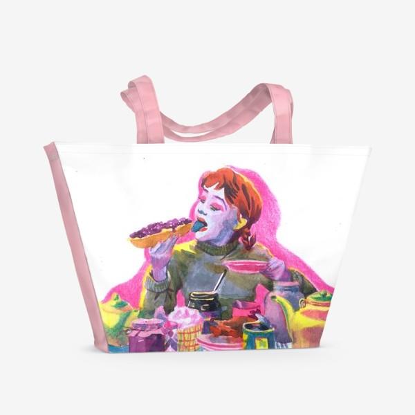 Пляжная сумка «Поп-арт, завтрак , еда ,кино»