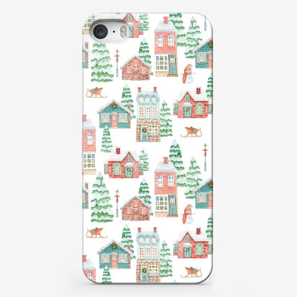 Чехол iPhone «Уютные рождественские домики»