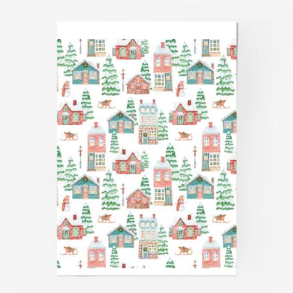 Постер «Уютные рождественские домики»