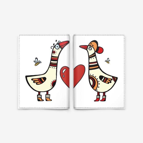 Обложка для паспорта «два веселых гуся»