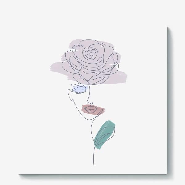 Холст «Девушка роза. Непрерывная линия»