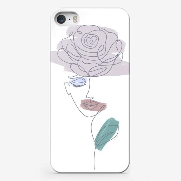 Чехол iPhone «Девушка роза. Непрерывная линия»