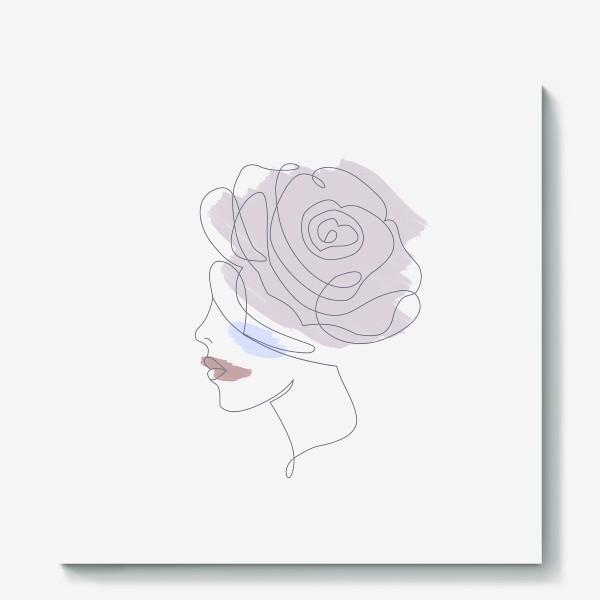 Холст «Девушка роза 2. Непрерывная линия»