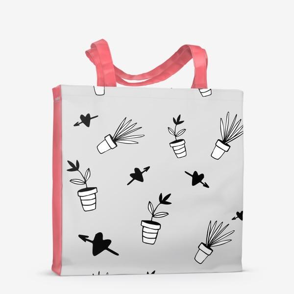 Сумка-шоппер «Цветы в горшках  милый принт»