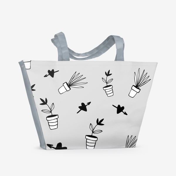 Пляжная сумка «Цветы в горшках  милый принт»