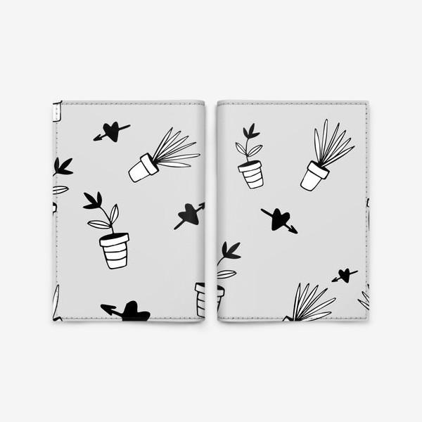 Обложка для паспорта «Цветы в горшках  милый принт»