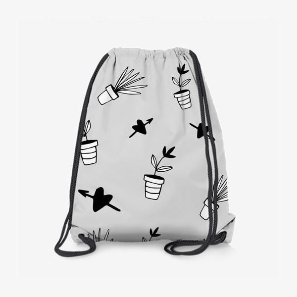 Рюкзак «Цветы в горшках  милый принт»