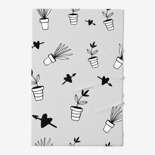 Полотенце «Цветы в горшках  милый принт»