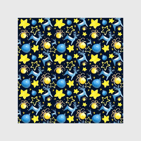 Шторы «Новогодний паттерн из ёлочных игрушек и звёзд»