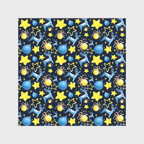 Скатерть «Новогодний паттерн из ёлочных игрушек и звёзд»