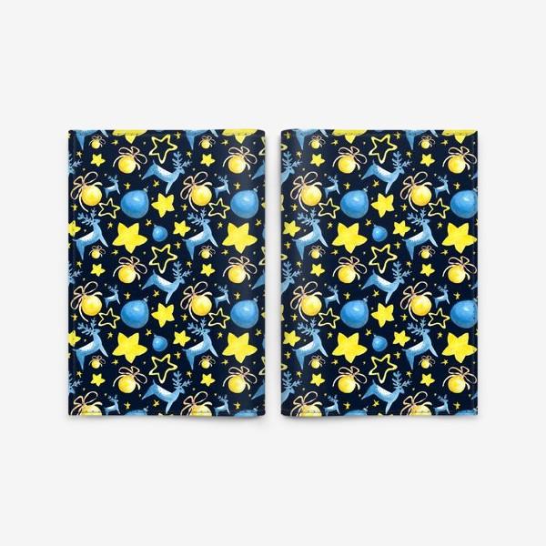 Обложка для паспорта «Новогодний паттерн из ёлочных игрушек и звёзд»
