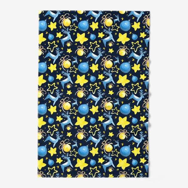 Полотенце «Новогодний паттерн из ёлочных игрушек и звёзд»