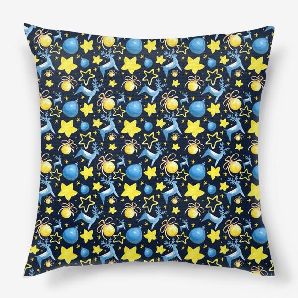 Подушка «Новогодний паттерн из ёлочных игрушек и звёзд»