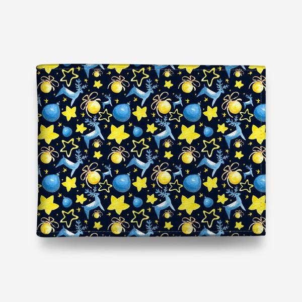 Кошелек «Новогодний паттерн из ёлочных игрушек и звёзд»