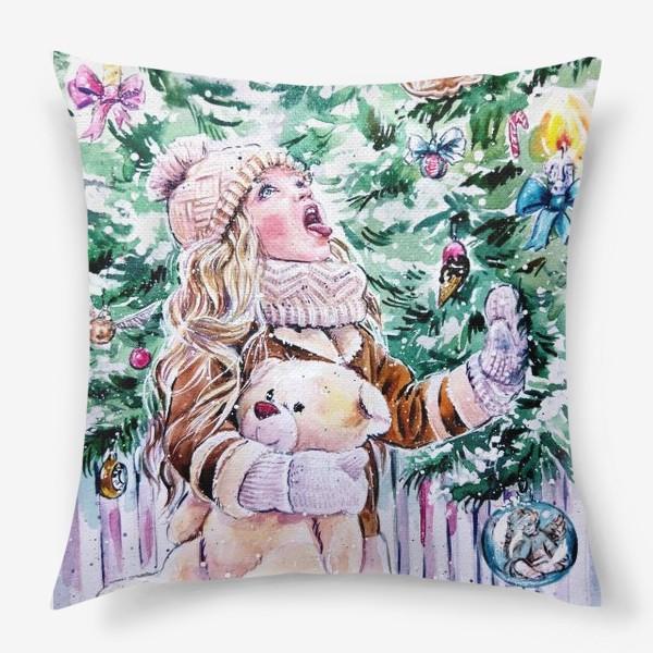 Подушка «девочка со снежинками»