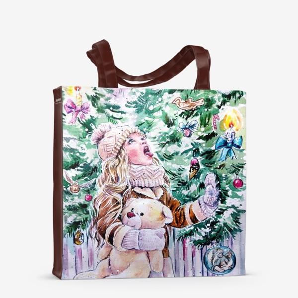 Сумка-шоппер «девочка со снежинками»