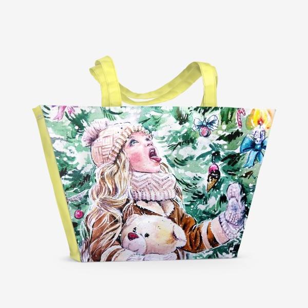 Пляжная сумка «девочка со снежинками»
