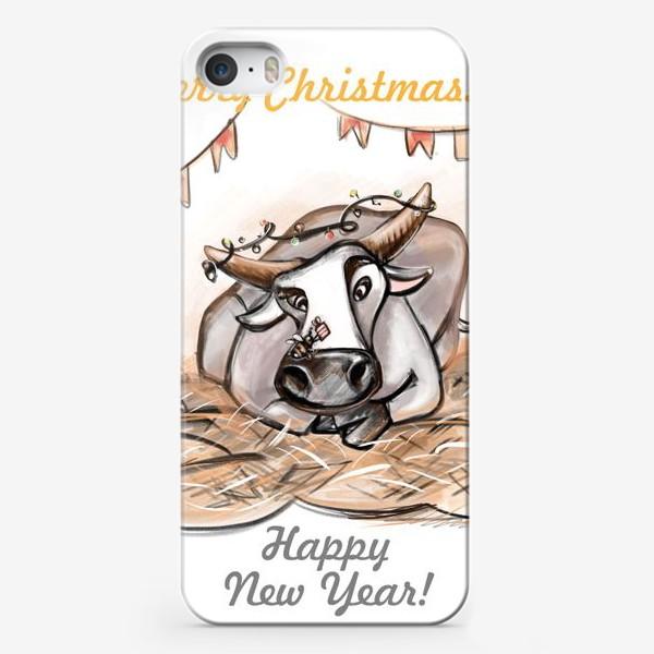 Чехол iPhone «Белый бычок и пчелка»