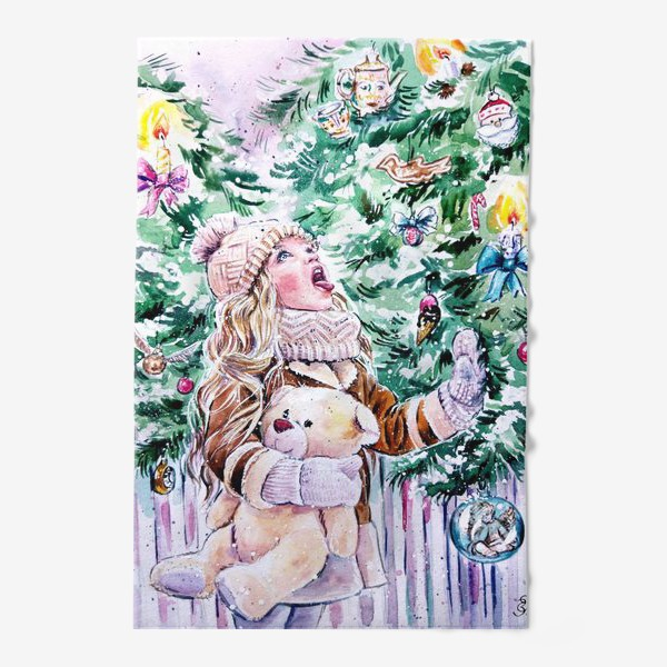 Полотенце «девочка со снежинками»
