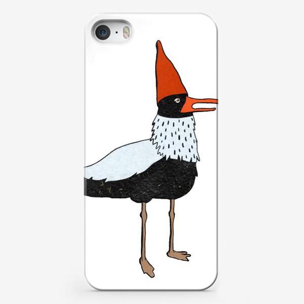 Чехол iPhone «Чайка в колпаке на белом фоне. »