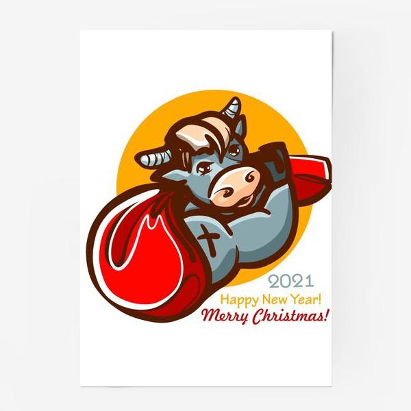 Постер «Брутальный бык с подарками»
