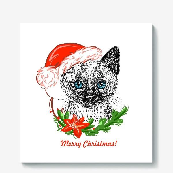 Холст «Новогодний котенок»