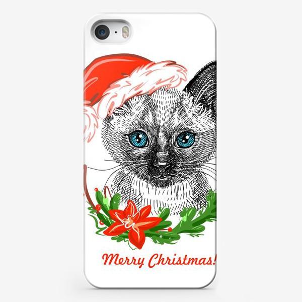 Чехол iPhone «Новогодний котенок»