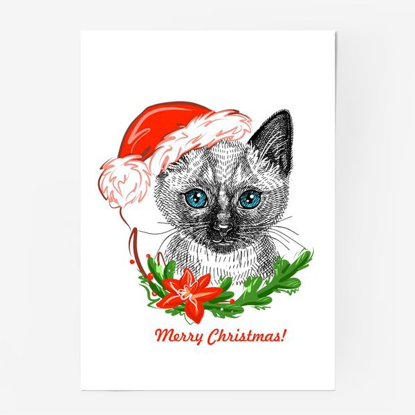 Постер «Новогодний котенок»