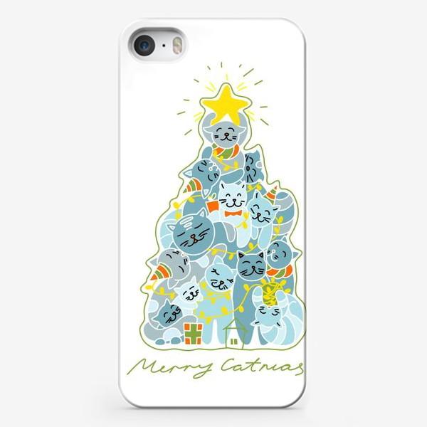 Чехол iPhone «Котики на ёлке»