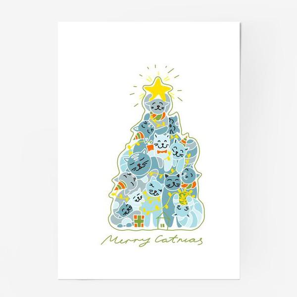 Постер «Котики на ёлке»