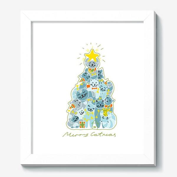 Картина «Котики на ёлке»