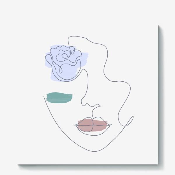 Холст «Девушка роза 3. Непрерывная линия»
