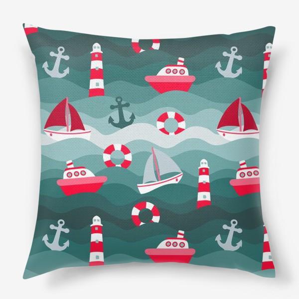 Подушка «Морской детский принт»