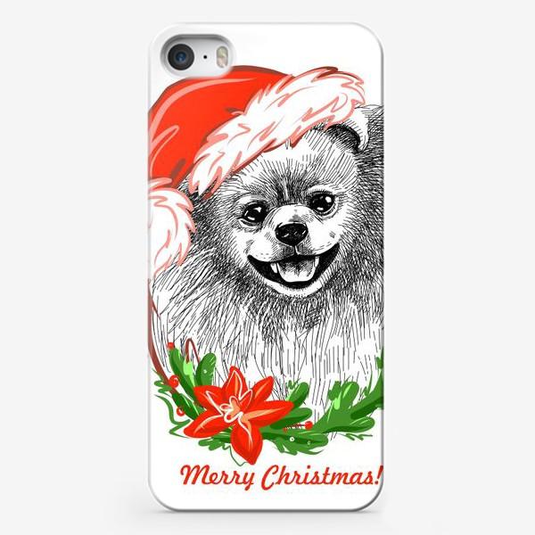 Чехол iPhone «Шпиц в Новогодней шапке»