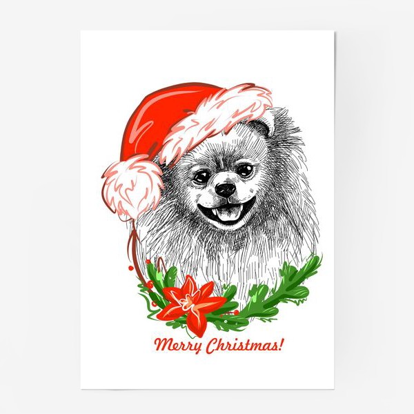Постер «Шпиц в Новогодней шапке»