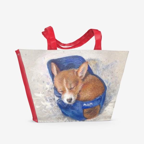 Пляжная сумка «Малыш корги . щенок ,подарок»