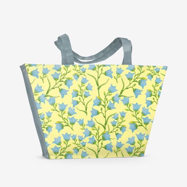 Пляжная сумка «Колокольчики на желтом фоне»