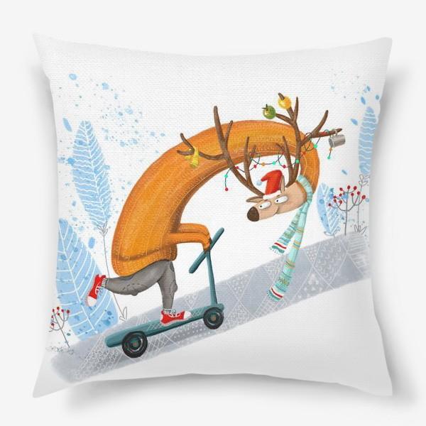 Подушка «Забавный олень на самокате. »