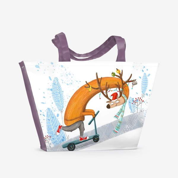 Пляжная сумка «Забавный олень на самокате. »