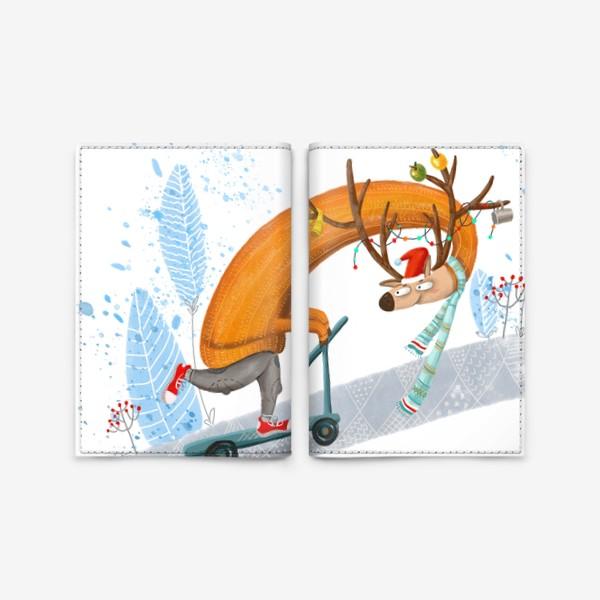 Обложка для паспорта «Забавный олень на самокате. »