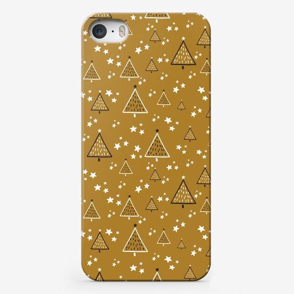 Чехол iPhone «Новый год, ёлки на золотом фоне»