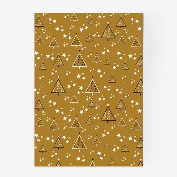 Постер «Новый год, ёлки на золотом фоне»