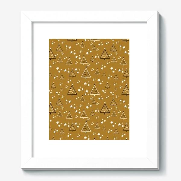 Картина «Новый год, ёлки на золотом фоне»