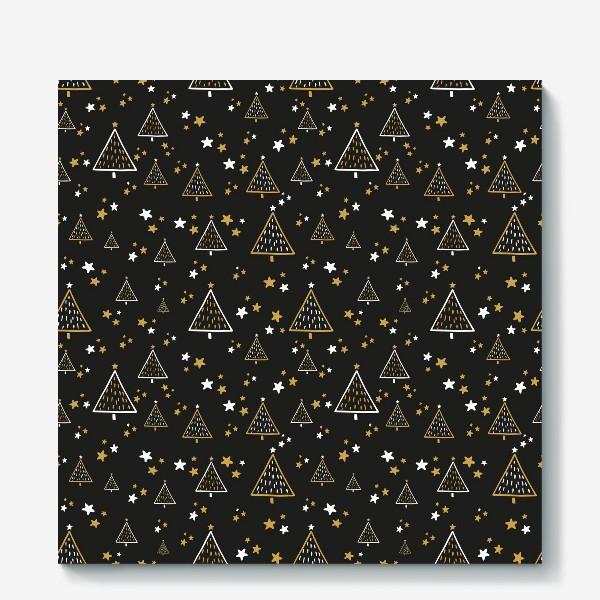 Холст «Новогодний паттерн, елки и звезды на черном фоне»