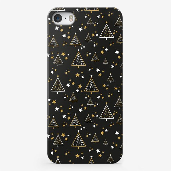 Чехол iPhone «Новогодний паттерн, елки и звезды на черном фоне»