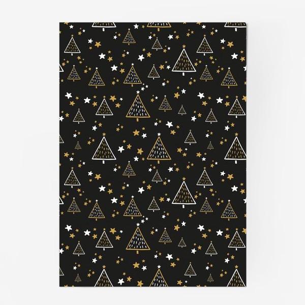 Постер «Новогодний паттерн, елки и звезды на черном фоне»